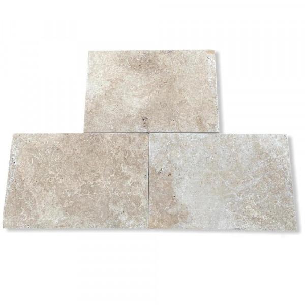 Travertinplatten - Weiß getrommelt 60x40x3 cm