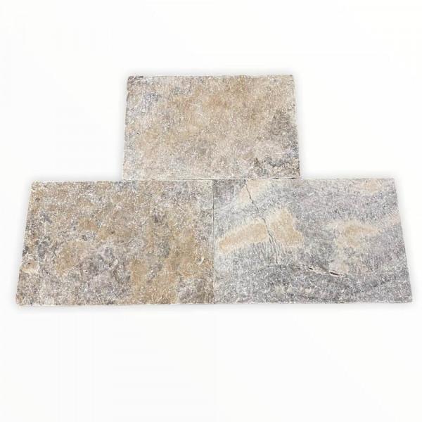 Travertinplatten - Silber getrommelt 60x40x3 cm